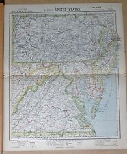 1883  ANTIQUE MAP UNITED STATES VIRGINIA DELAWARE PENNSYLVANIA NEW JERSEY