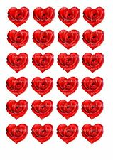 24 Edible cake toppers decorations RED VALETINES HEART SHAPED ROSES