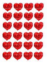 24 glaçages pour gâteau comestibles Décorations red valetines roses en forme de coeur