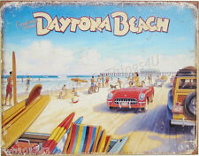 Daytona Beach TIN SIGN metal travel poster vtg car art bar surf wall decor 1986
