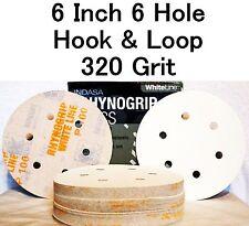 Indasa Rhynogrip 6 inch 6 Hole Hook & Loop Sanding Discs 50/box 320 Grit