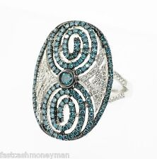 LADIES STERLING SILVER BLUE & WHITE DIAMOND CLUSTER SWIRL OVAL TOP COCKTAIL RING