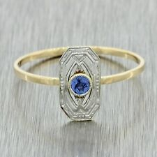 1920s Antique Art Deco Estate 14k Solid White Yellow Gold Sapphire Shield Ring