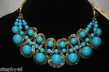 NEW! NWT! AMRITA SINGH Turquoise Resin Bead BROADWAY Statement Bib Necklace