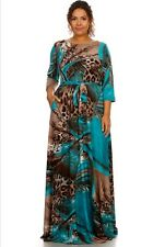 Plus size Abstract leopard printed A-line printed maxi dress with side pockets