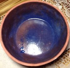 Clay bowl carved aztec design outside high gloss glaze inside marked USA