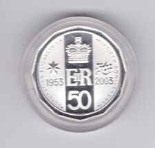 2003 Coronation Queen Elizabeth II Silver Proof 50 Cent Coin in capsule K-305