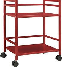 Altra Marshall 2-Shelf Rolling Metal Utility Cart - Red Finish