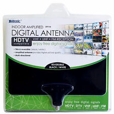 Digital 15dB Amplified Flat Indoor TV Antenna HDTV DTV UHF VHF FM Black & White