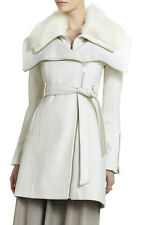 BCBG MAX AZRIA Victoria WHITE FUR COLLAR WOOL COAT Womens M New NWT 10382BM-100