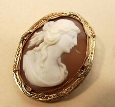 Antique 10K Gold Carved Shell Cameo Brooch Pendant Filigree Pin Edwardian Vtg