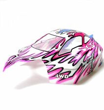 81346 Off Road Nitro RC R/C 1/8 Escala Buggy Body Shell cubrir llama Rosa Blanco