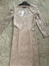 Warehouse Women's Size 8 Cream Gold Lace Body Con Dress Longsleeve Bnwt