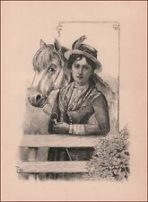 Girl and her HORSE, antique engraving, print, original 1891