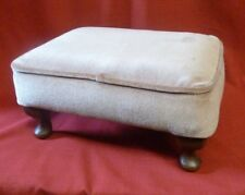 Vintage Sherborne Foot Stool/Seat Lilac Fabric cover-Queen Anne style Legs
