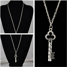 NEW Style Lucky Charm Key Pendant Necklace Silver Tone Metal Alloy Chain Gift