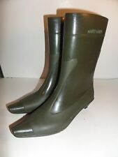 Miu Miu Rubber Wellies Stylish Rain Boots with Heel Slip on 38 7.5