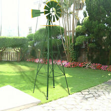 8Ft Tall  Windmill Ornamental Wind Wheel Green And Yellow Garden Weather Vane
