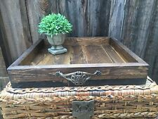 Handmade Wood Rustic Serving Ottoman Tray Home Decor Farmhouse Reclaimed Tuscan