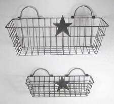 Metal Wire Basket Wall Pocket Tabletop Plant Holder Country Style Set 2