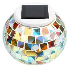LED Light Solar Power Mosaic Glass Ball Garden Stake Color Changing Outdoor Law