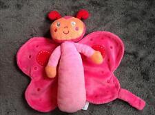 379- Peluche Doudou Papillon rose fushia - Attache tétine - INFLUX - Comme neuf