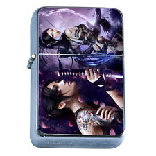 Windproof Refillable Flip Top Oil Lighter Fantasy Warrior D9 Anime Art Hero