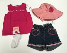 NWT Gymboree Candy Apple 18-24 Months Fuchsia Pleated Top Denim Shorts Hat Socks