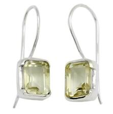 Natural Green Amethyst Gemstone Earrings Solid 925 Silver Jewelry EBER1106