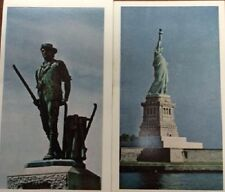 Statue of Liberty and Minuteman Statue postcards by American Oil Company 1969