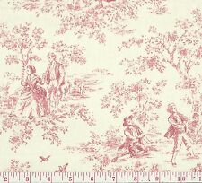 P Kaufmann Kensington Garden Rose Red Ivory Toile Print Upholstery Fabric BTY