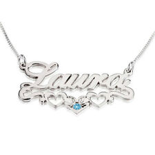 Sterling Silver Name Necklace with Hearts & Birthstone