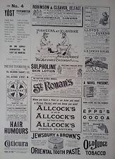 """1899 ADVERT ALLCOCKS PLASTERS-G E LEWIS RIFLES-""""SANITAS""""-YOST NO 4 TYPEWRITER"""