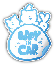 "Baby In Car Boy Sign Car Bumper Sticker Decal 4"" x 5"""