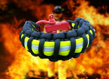 Firefighter Bunker Turnout Gear Paracord 550 Bracelet with Red Adj. Steel Shackl