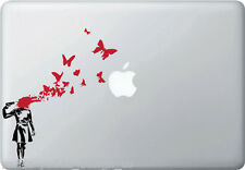 MB - Suicide Butterflies - Banksy Style Macbook/Laptop Decal (BLACK w RED)