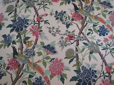 GP & J BAKER CURTAIN FABRIC DESIGN Hydrangea Bird 2.2 METRES  ROSE & BISCUIT