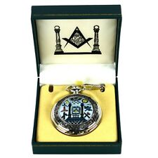 Freemason Ornate Pocket Watch &Chain w/Masonic Altar Master Free Mason Mens Gift