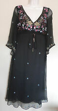 MONSOON UK10 EU38 UK6 BLACK CHILA CRINKLED SILK DRESS WITH EMBROIDERY/GEMS - NEW