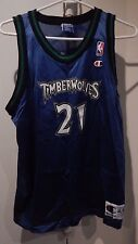 VINTAGE CHAMPION YOUTH TIMBERWOLVES GARNETT #21 NBA BASKETBALL JERSEY XL BLUE