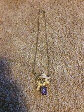 Vintage Women's Gold Color Faux Pearl Purple Stone Pendant Necklace