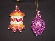 2 Vintage Heavily Beaded Sequin Velvet Christmas Tree Ornaments ~ Handmade