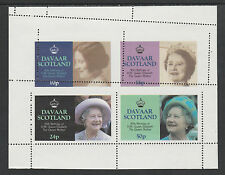 GB Locals - Davaar 2929 - 1985 QUEEN MOTHER perf sheet with MISPLACED PERFS u/m