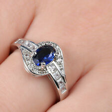 Blue Sapphire Wedding Rings CZ 14KT White Gold Filled Womens Jewelry Size 6.5