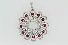 925 Sterling Silver Synthetic Ruby w/White Topaz Pendant( 3.00 cts)