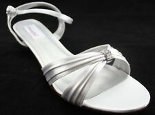New Women's DYEABLES Fiesta White Satin Formal Dress Shoes US Size 10