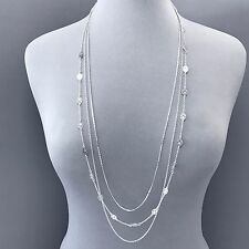 Long Silver Multi Layered Chain Designer Inspired Pendants Necklace