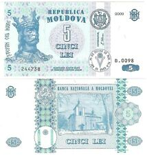 Moldova 5 Lei 2009 P-9f NEW UNC Uncirculated Banknote