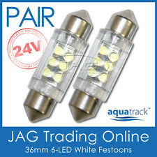 2 x 24V 36mm 6-LED WHITE FESTOON LIGHT GLOBES -Truck/Trailer/Caravan/RV/Interior