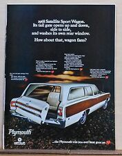 1967 magazine ad for Plymouth - 1968 Satellite Sport Wagon, swinging tail gate